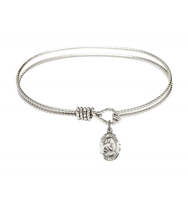 St. Gerard Majella Charm On A 7 1/4 Inch Oval Eye Hook Bangle Bracelet - CV129TJ4HXP