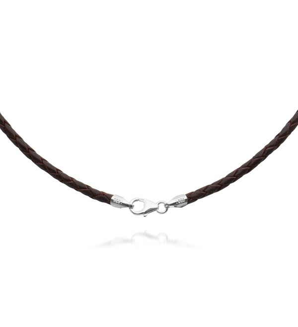 "2mm Brown Braided Leather Cord Necklace Choker with Solid 925 Sterling Silver Clasp 26"" - C5115GGDELR"
