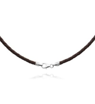 """2mm Brown Braided Leather Cord Necklace Choker with Solid 925 Sterling Silver Clasp 26"""" - C5115GGDELR"""