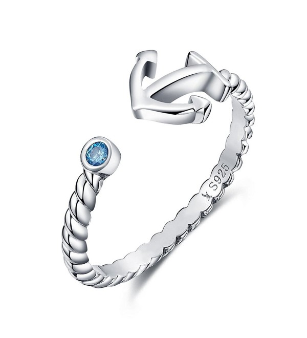 925 Sterling Silver Anchor Blue Crystals Women Fashion Boat Element Jewelry Sizable Ring - CA186IT7GAC