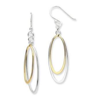 Sterling Silver Dangling Double Oval Earrings - (1.34 in x 0.71 in) - CL12GPPNXG3