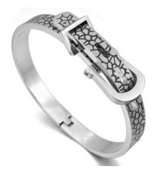 INBLUE Women's Stainless Steel Bracelet Bangle Cuff Black Silver Tone Belt buckle Adjustable - CV11JVJBT1H