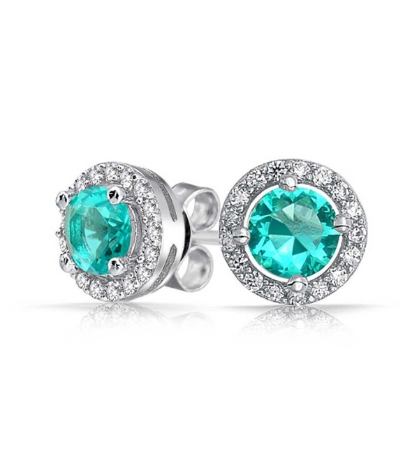Bling Jewelry Simulated Aquamarine March Birthstone CZ Round Stud earrings 925 Sterling Silver 8mm - CZ1140PQAY7