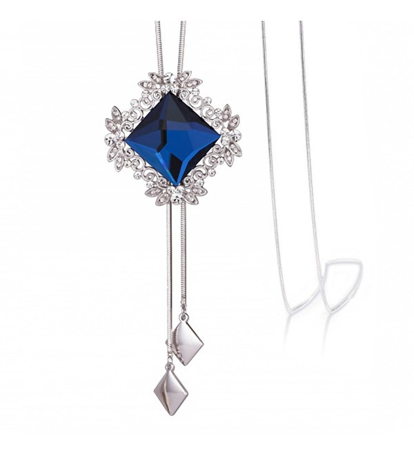 "Merdia Long Chain Necklace for Women Rhombus Pendant with Sparkly Glass-20""-42G - CE182I9DDO4"
