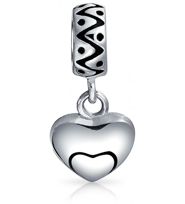 Bling Jewelry Swirl Heart Charm 925 Silver Love Pendant and Dangle Bead for European Bracelet - CN11834T7UV