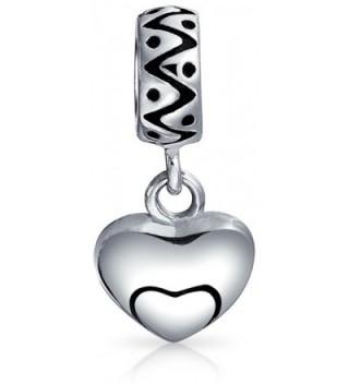 Bling Jewelry Swirl Heart Charm 925 Silver Love Pendant and Dangle Bead for European Bracelet - CN11834T7UV