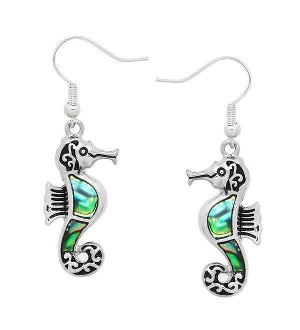 Liavy's Seahorse Fashionable Earrings - Vine Filigree - Fish Hook - Abalone Paua Shell - Unique Gift and Souvenir - CJ12B57VHK5