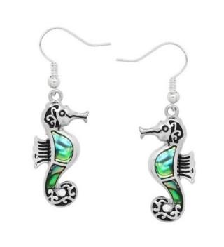 Liavy's Seahorse Fashionable Earrings - Vine Filigree - Fish Hook - Abalone Paua Shell - Unique Gift and Souvenir - CJ12B57VHK5