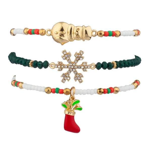 Lux Accessories Stocking Stuffer Pave Crystal Snowflake Snowman Christmas Xmas Beaded Stretch Bracelet Set - CA129JUJ1PX