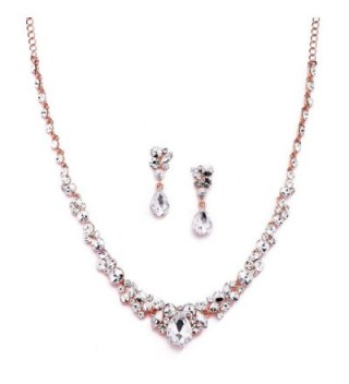 Mariell Glamorous Blush Rose Gold Crystal Necklace & Earrings Jewelry Set for Wedding- Prom & Bridesmaids - CW12NSBYLPT