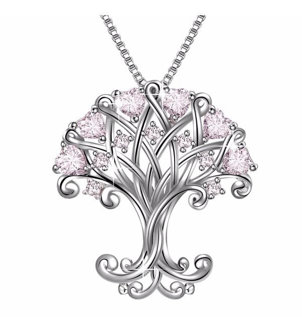 Sterling Silver Zirconia Pendant Necklace - Pink - CM184DE03R6