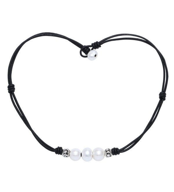 Black Leather Pearl Necklace Choker For Women Teen Girls By Potessa - CK12EAB9PM9