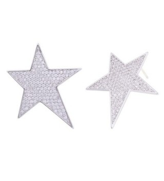 OBONNIE Sparking Micro Pave Cubic Zirconia Pentagram Star 925 Sterling Silver Stud Earrings For Women - CR17AA00HAE