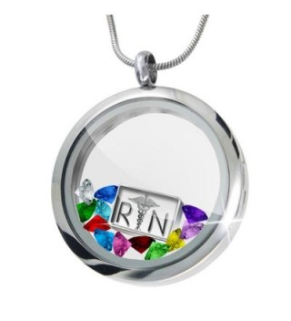 Floating Locket Set Registered Nurse Symbol + 12 Crystals + Charm- Neonblond - CD11I4Q6NIH