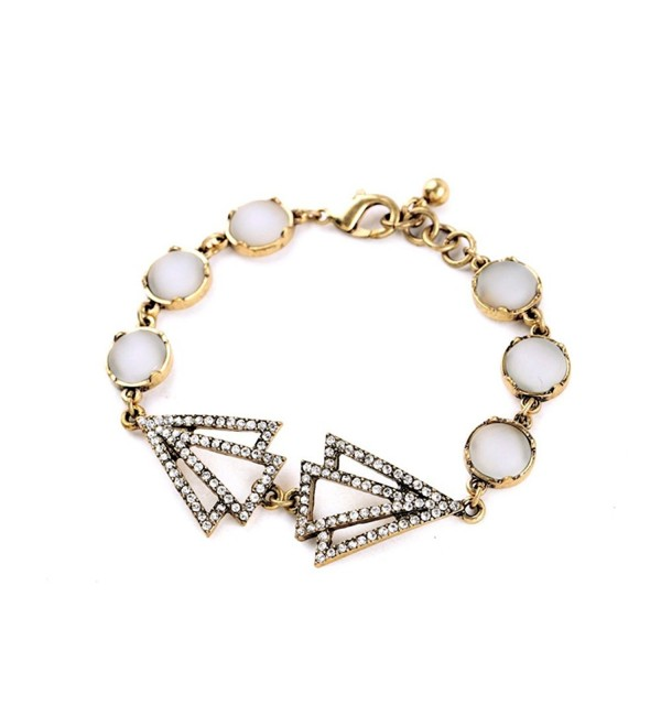 "Glass and Opal Unique Retro Art Deco Tennis Bracelet White Silver Colored Zinc Alloy Chain- 21"" - C312G3JBO99"