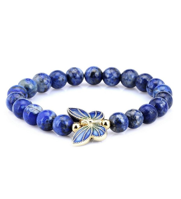 8mm Simulated-Lapis Lazuli Sterling silver Cloisonne Enamel Butterfly Bracelet - CP125GMMO6L