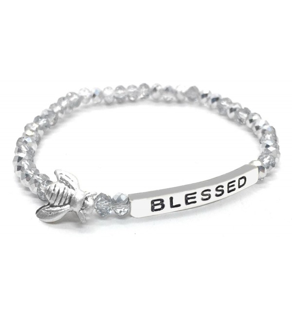 Bumble Bee Blessed Inspirational Quote Bracelet Bead Stacking Stretch Teen Girl Tween Woman - Silver - CB12O1NF55A