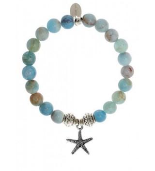 EvaDane Natural Aquamarine Beryl Gemstone Tibetan Bead Starfish Charm Stretch Bracelet - C312DR215KN