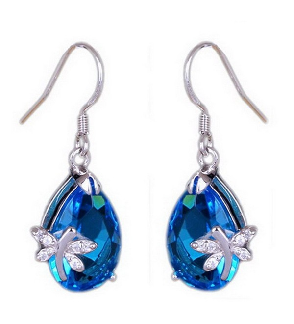 Bigood Pretty Blue Water Drop Crystal Dragonfly Silver Plated Stud Dangle Earings Eardrop - CA125E22035