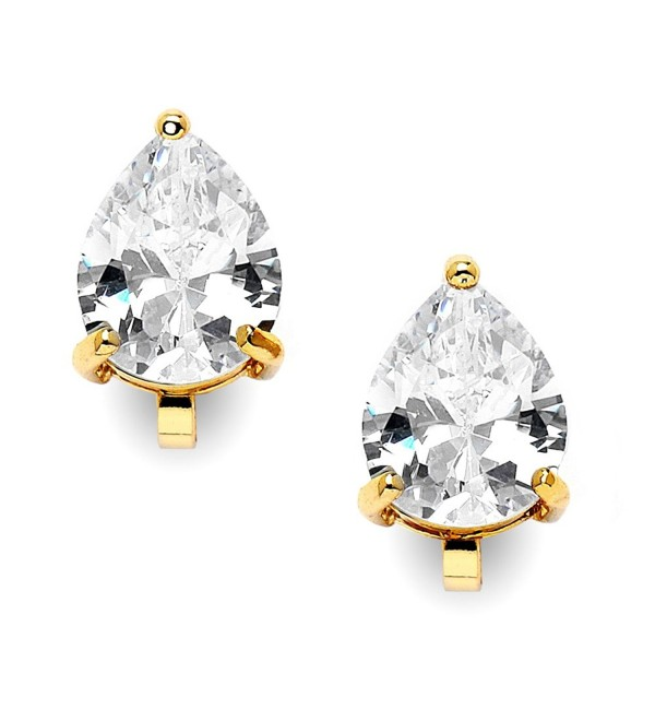 Mariell 2 Carat Clip-On Earrings with Pear-Shaped Cubic Zirconia Stud Solitaire - 14K Yellow Gold Plating - C8127WOZDCX