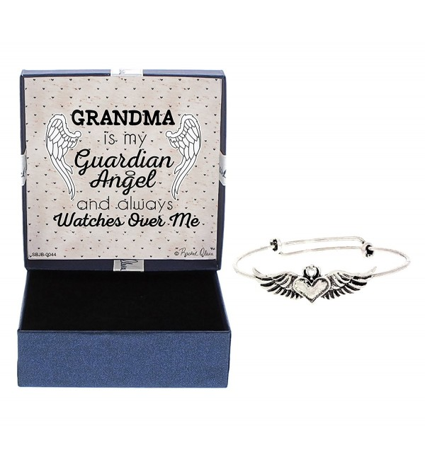 Guardian Angel Wings Heart Memorial Gift Silver-Tone Adjustable Bangel Watches Over Me - C212NG9RTCY