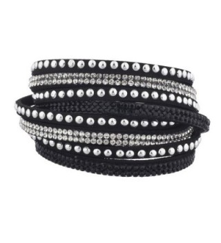 Lux Accessories Crystal Studded Stones Braided Wrap Bracelet - Black - CT12LO55D0N