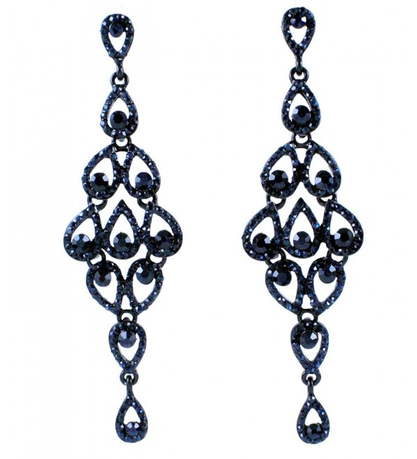 Janefashions Drops Austrian Crystal Rhinestone Chandelier Dangle Earrings Bridal E2088 Navy Blue - C9120TGO7MD
