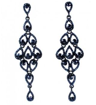 Janefashions Drops Austrian Crystal Rhinestone Chandelier Dangle Earrings Bridal E2088 Navy Blue - C9120TGO7MD