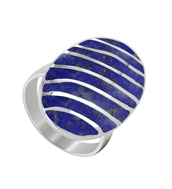Gem Avenue 925 Sterling Silver Blue Lapis Gemstone 25 x 16mm Oval with Stripes Design Ring - CX11C8I71I3