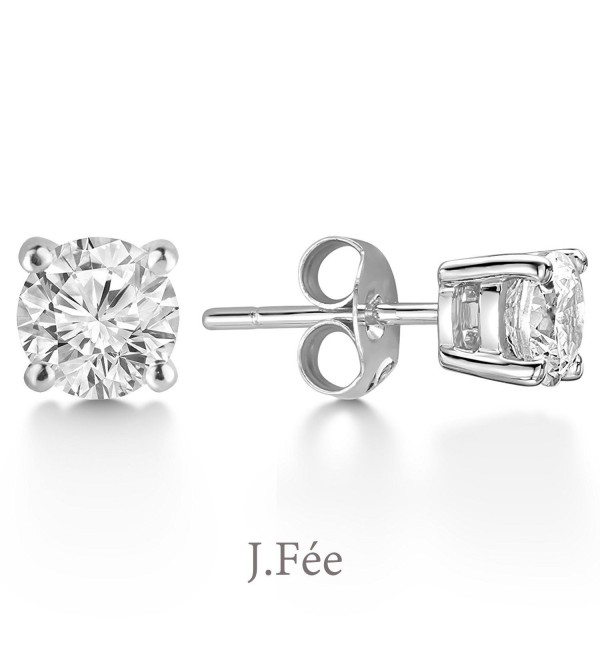 J.Fée Hypoallergenic 925 Sterling Silver 4A Cubic Zirconia Brilliant Cut Simulated Diamond Stud Earrings - Clear - CN187IEK42E