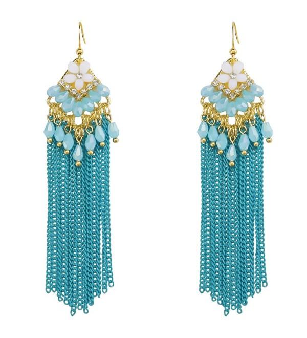 Handmade Tribal Chandelier Beaded Flower Dangle Earrings Bohemia Long Tassel Crystal Women's Jewlery - Blue - C318390K38N