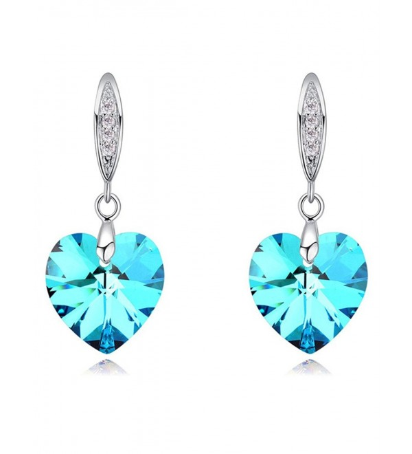 FANSING Drop Dangle Chandelier Earrings for Womens Heart Crystal - Blue - C912N1T2NHC