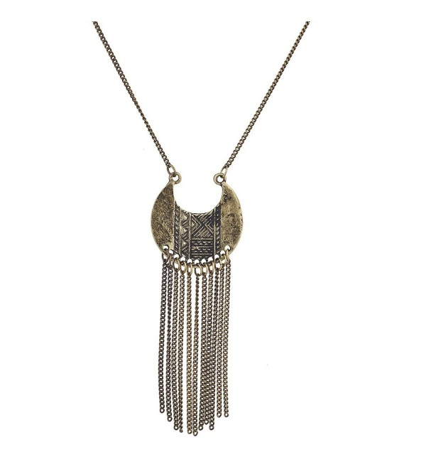 Lux Accessories Burnished Gold Tribal Tassel Pendant Necklace - C112N8YW1D6