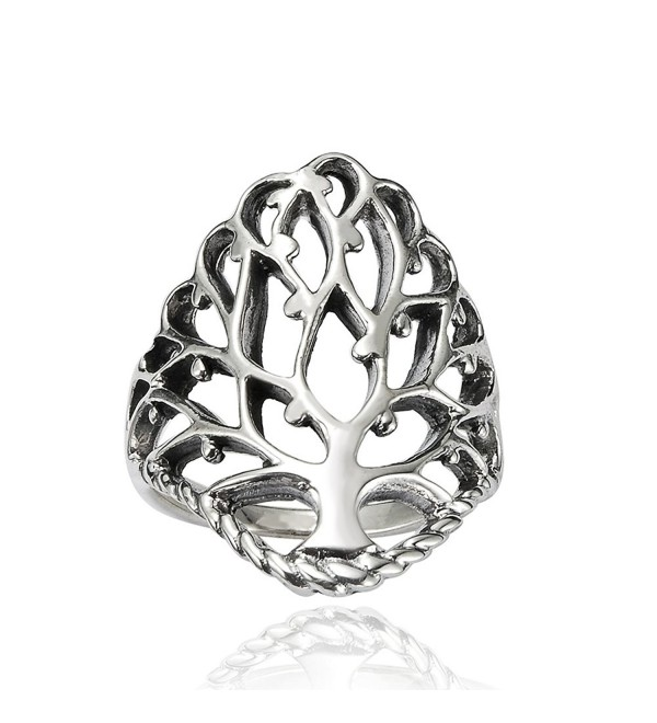 925 Sterling Silver 26 mm Detailed Large Celtic Tree of Life Band Ring - Nickel Free - CJ11B8DS6JR