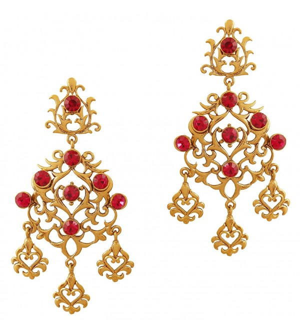 Touchstone Indian bollywood filigree work fuchsia long chandelier jewelry earrings in antique gold tone - Red - C112NUFUDE2