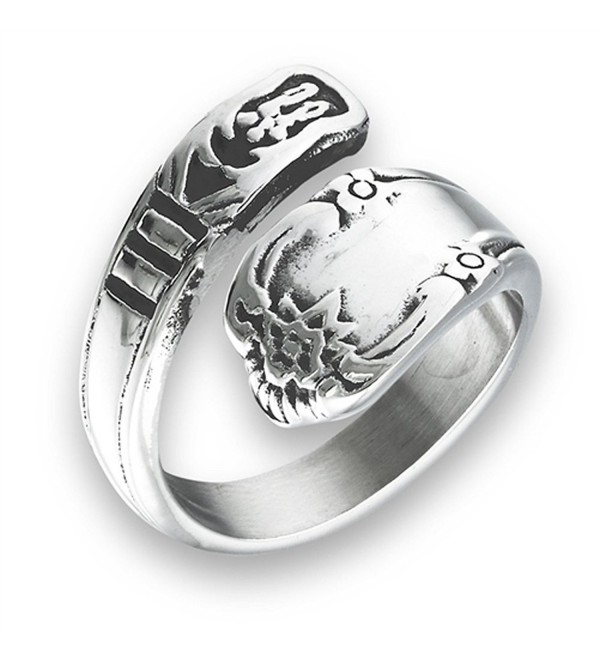 Sac Silver Victorian Claddagh Style Open Wrap Spoon Ring Stainless Steel Band Sizes 7-10 - CK182ZUAT25