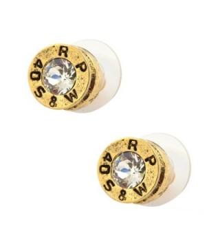 Southlife - Lizzy J's Handcrafted Designer Gold Plated Bullet Shell Stud Earrings with Clear Crystal - CW11H9P2RBV