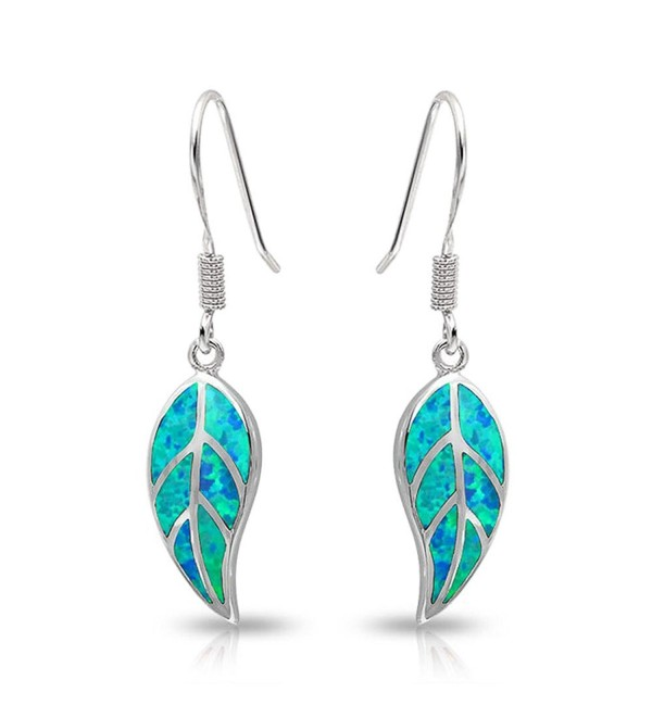 Bling Jewelry Blue Synthetic Opal Inlay Nature Leaf Sterling Silver Dangle Leverback Earrings - CC11KFO0DZZ