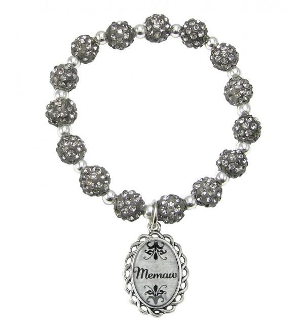 Memaw Black Diamond Gray Jeweled Beads Crystal Stretch Bracelet Jewelry Gift - CQ12CAFI59V