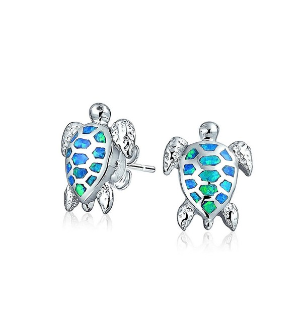Bling Jewelry Simulated Blue Opal Sea Turtle Stud earrings 925 Sterling Silver 13mm - C111WP3UK0R