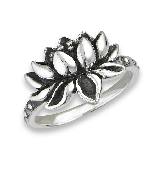 .925 Sterling Silver Open Lotus Flower Ring - CQ124ABZ8AB