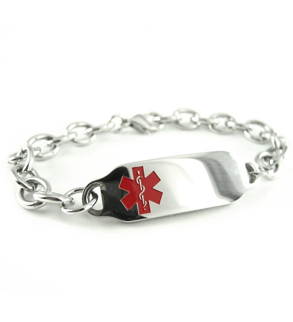 MyIDDr - Pre-Engraved & Customized Diabetes Type II Medical Bracelet- Wallet Card Incld- Red Symbol - CL114J9JLZP