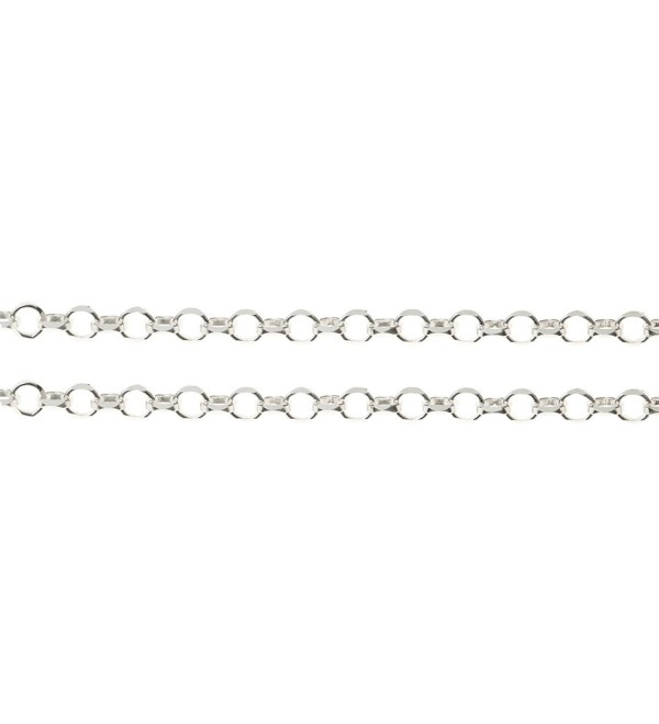 12 inches .925 Sterling Silver Rolo Cable Footage Chain / Findings / Bright - C9119TPU5FJ