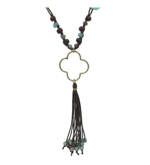 Long Tassel Cord Fringe Silver Tone Open Clover Necklace - C718C53LNHA
