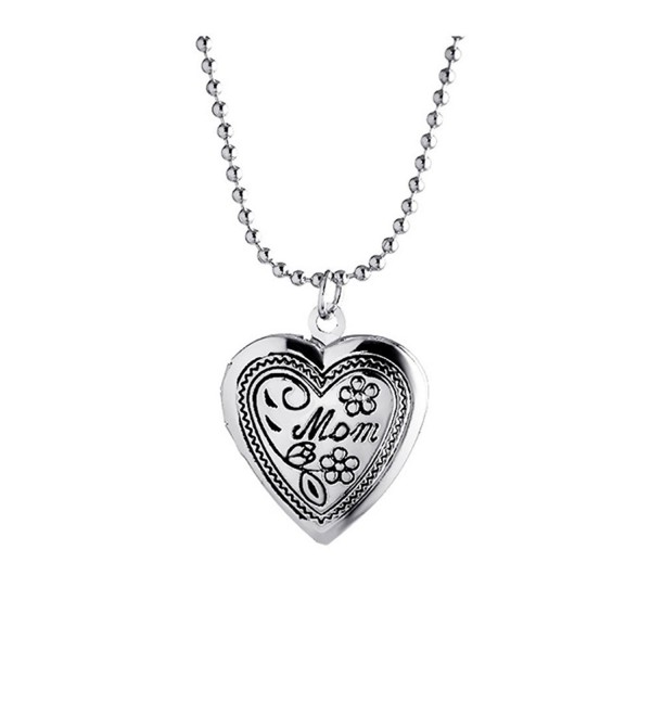 Mother's Day Gift for Mother Engraved Mom Flower Heart Shaped Photo Locket Necklace - Silver - CR17AZXI3CR