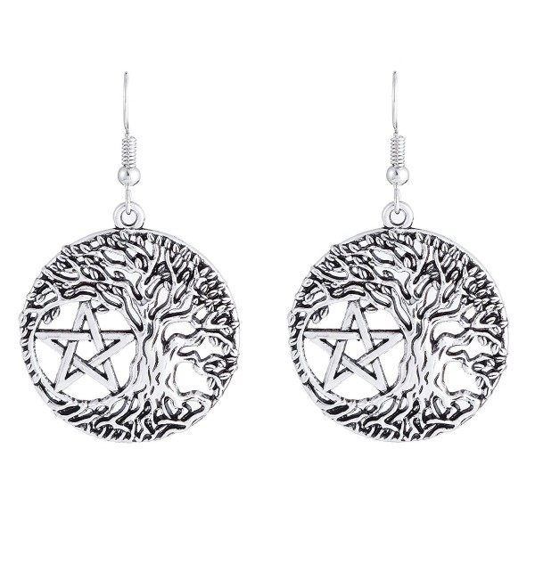Tree of Life Yggdrasil Pentacle Pentagram Portugal Drop Earrings for Women - CK1867EMNG0