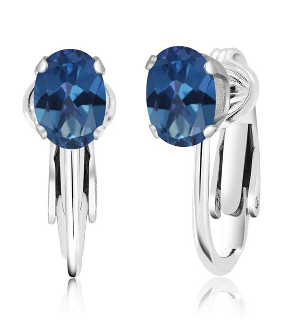 1.90 Ct Oval Royal Blue Mystic Topaz 925 Sterling Silver Clip-On Earrings - CC11OQB6A59