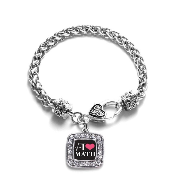 Math Nerd Mathematician Classic Silver Plated Square Crystal Charm Bracelet - CY11LBGK9UZ