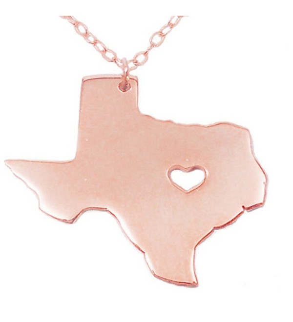 Joyplancraft Texas State Necklace-TX State Charm Necklace-TX Map Shaped Necklace With A Heart - C012GDT2J3T