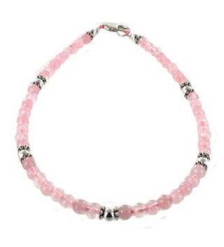 Womens Rose Quartz & Sterling Silver Ladies Beaded Gemstone Anklet with Daisies - CD11CPAID6H